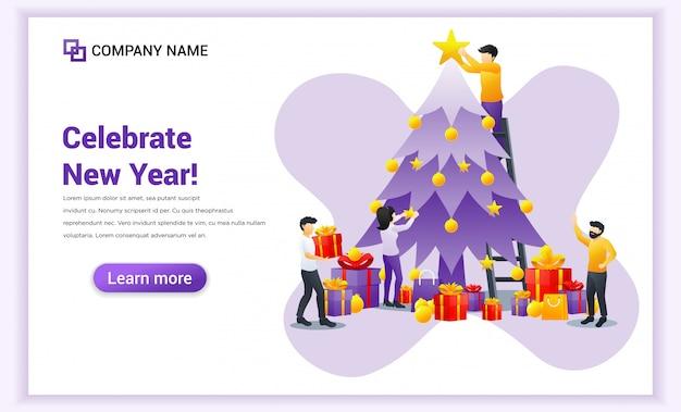 Las personas que participan en la decoración del árbol de navidad se preparan para la fiesta y celebran la pancarta de año nuevo