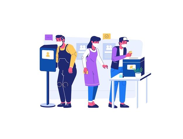 Las personas que participan en el día de las elecciones usan una máscara durante la situación de la pandemia covid19 estilo de dibujos animados planos