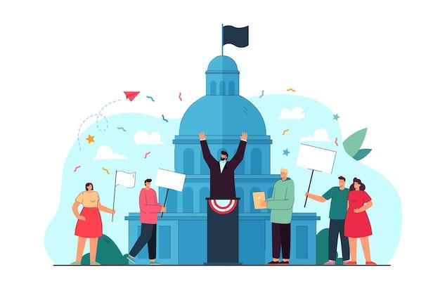 Personas que participan en la ilustración plana del evento político.