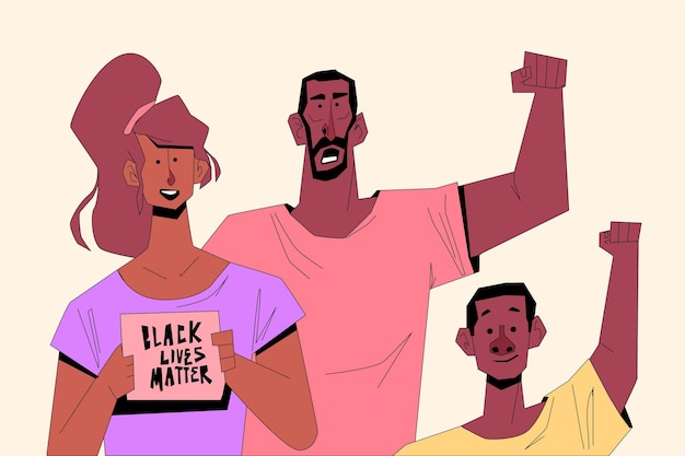 Las personas que participan en vidas negras importan movimiento