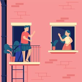Personas que pasan tiempo en sus ventanas