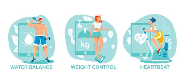 Personas que practican deportes y usan gadgets para mantener el conjunto de ilustraciones de control.