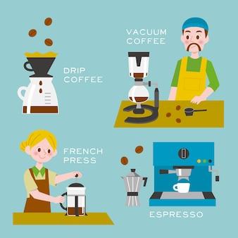 Personas que preparan diferentes métodos de café.