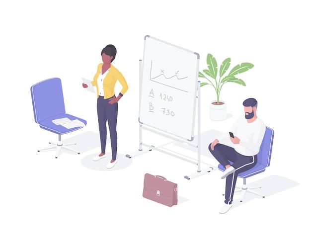Personas que se preparan para la ilustración isométrica de la entrevista de trabajo. personaje femenino con hoja en mano lee currículum en voz alta. hombre con smartphone busca información sobre el empleador realista.