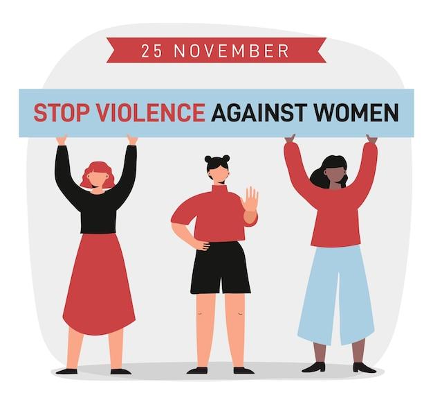 Personas que protestan por la eliminación de la violencia contra la mujer