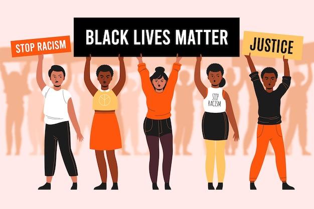 Las personas que protestan juntas por el movimiento de las vidas negras importan