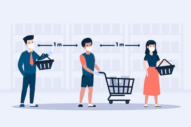 Las personas que se quedan en una cola en el supermercado ilustran