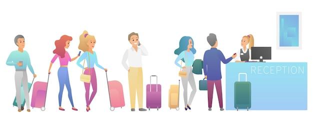 Personas que se quedan y esperan en una larga cola en la ilustración de recepción del mostrador