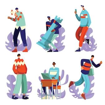 Personas que realizan la actividad de trabajo paquete de caracteres ilustración plana