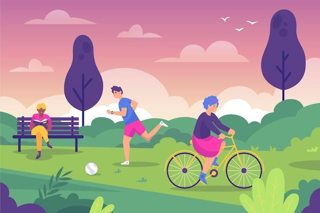 Personas que realizan actividades al aire libre.