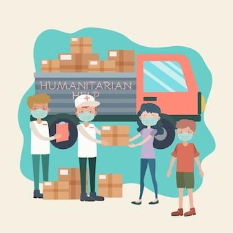 Personas que realizan actividades humanitarias.