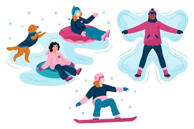 Personas que realizan actividades de invierno al aire libre.