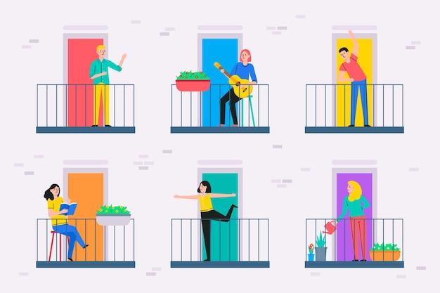Personas que realizan actividades de ocio en el balcón