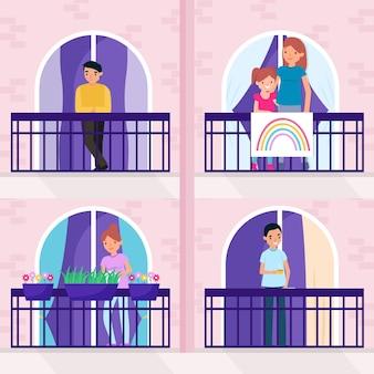 Personas que realizan actividades de ocio en los balcones.