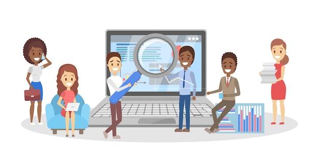Personas que realizan análisis de negocios. idea de trabajo en equipo y liderazgo. pequeños trabajadores que investigan en la computadora portátil. planificación empresarial. ilustración de vector aislado