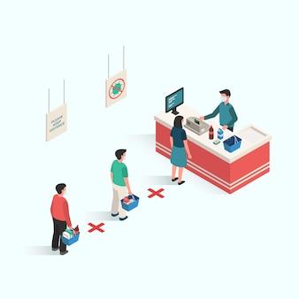 Personas que realizan distancias en áreas públicas para prevenir la infección de virus y enfermedades en el diseño isométrico