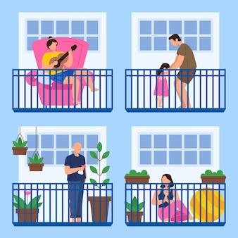 Personas que realizan diversas actividades en el balcón.