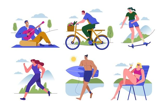 Personas que realizan diversas actividades en el verano.