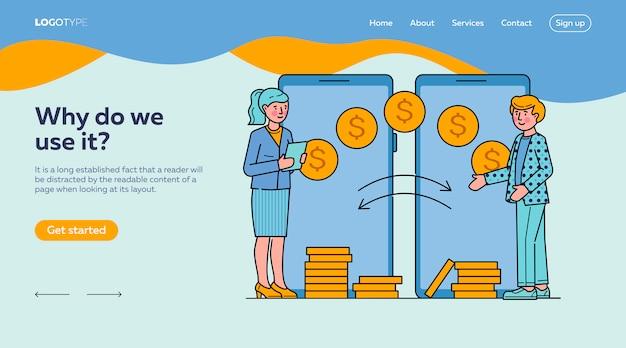 Personas que realizan transacciones financieras a través de la plantilla de página de destino de la aplicación móvil