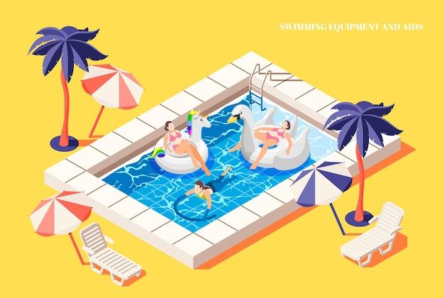 Personas que se relajan con ayuda para nadar en la composición isométrica de la piscina.