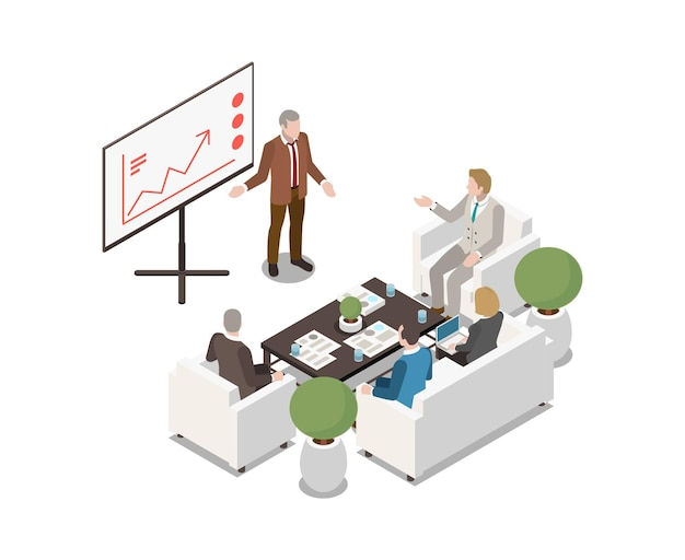 Personas que se reúnen en la sala con mesa rectangular de pizarra blanca y muebles blandos isométricos