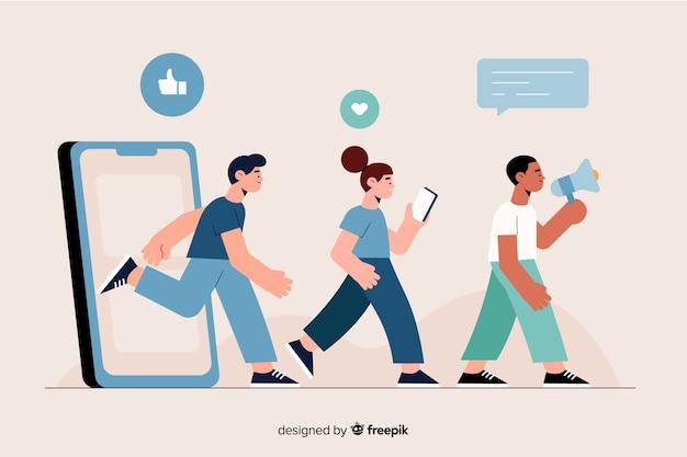 Personas que salen a través de una ilustración del concepto de teléfono