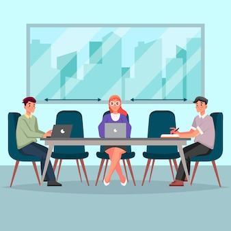 Personas que tienen un concepto de reunión y distanciamiento social.