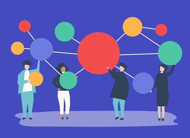 Personas que tienen conectados iconos de círculo de espacio de copia