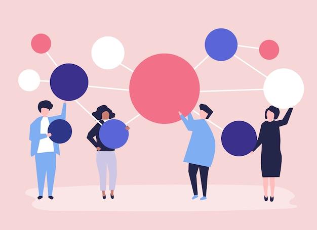 Personas que tienen conectados los iconos de círculo de espacio de copia