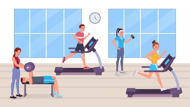 Personas que tienen entrenamiento en el gimnasio