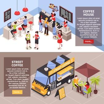 Las personas que tienen merienda en la cafetería en el interior y al aire libre pancartas isométricas conjunto 3d aislado