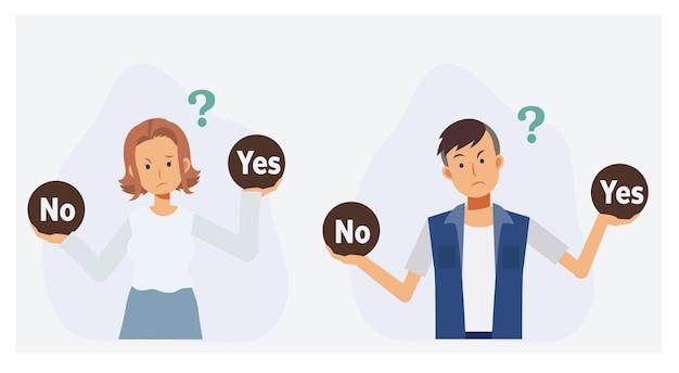 Las personas que toman una decisión sí o no piensan confundidas. ilustración de personaje de dibujos animados 2d de vector plano.