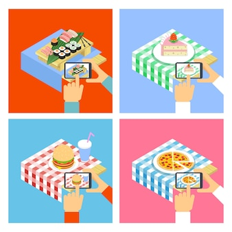 Personas que toman fotos de comida con smartphone. conjunto de ilustraciones