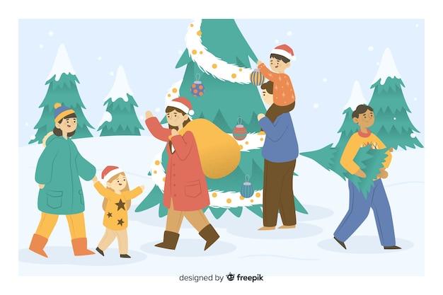 Personas que toman regalos y dibujos animados de árboles de navidad