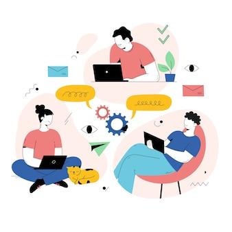 Personas que trabajan desde casa en línea.