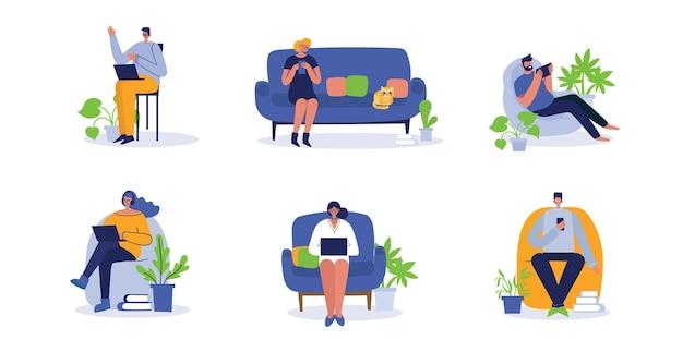 Las personas que trabajan en la computadora y el hogar y en la oficina de iconos aislaron ilustración