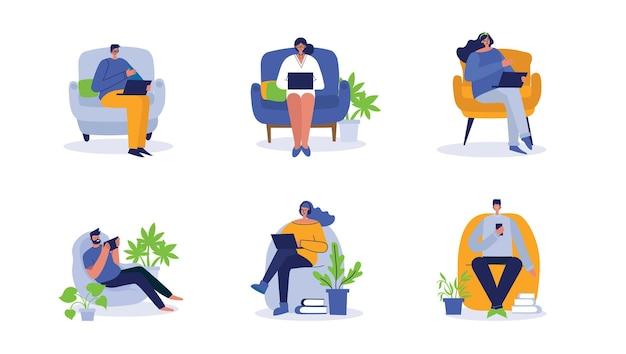 Personas que trabajan en la computadora, el hogar y la oficina.
