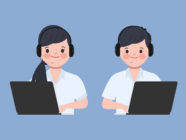Personas que trabajan con una computadora portátil. carácter de centro de llamadas y servicio al cliente.