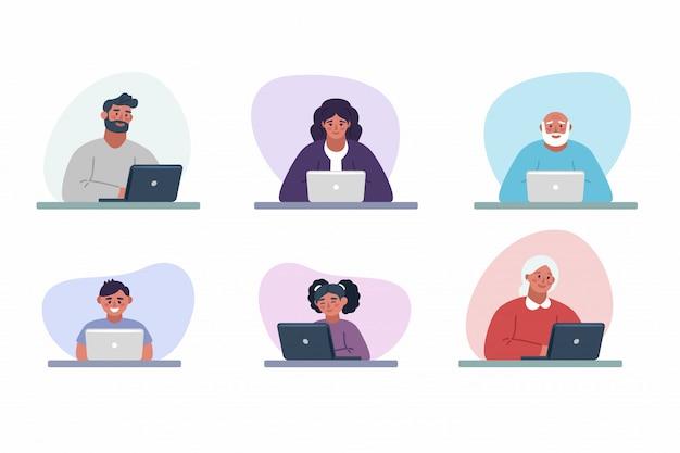 Las personas que trabajan en la computadora portátil y en el hogar y en la oficina en la mesa