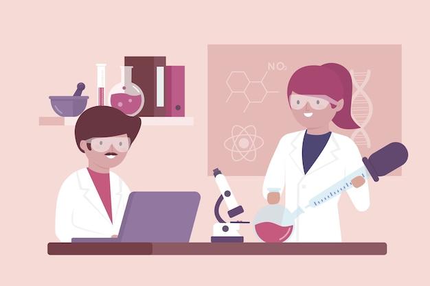 Personas que trabajan en concepto de laboratorio