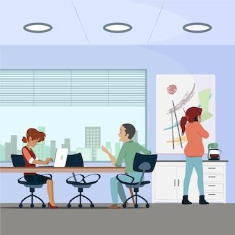 Personas que trabajan en coworking space.