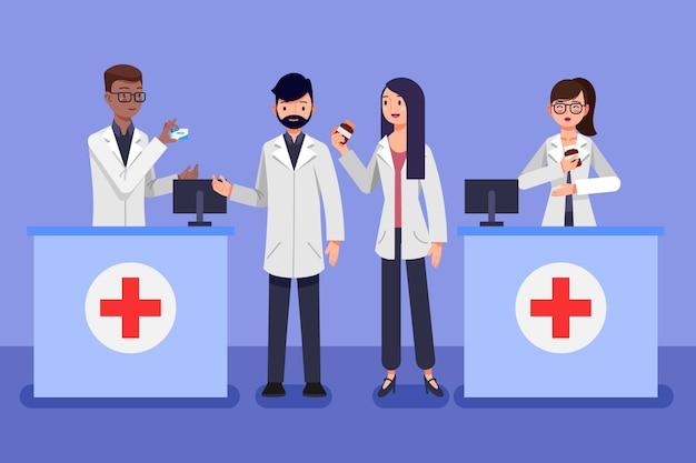 Personas que trabajan en una farmacia ilustrada