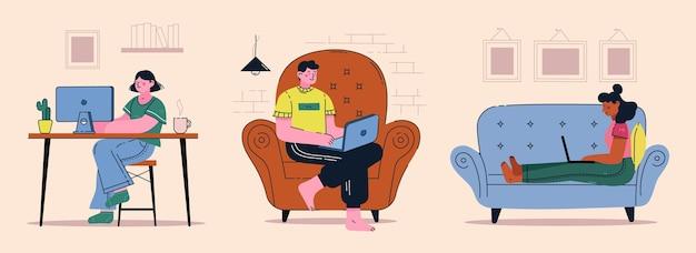 Personas que trabajan de forma remota escenas de diseño plano.