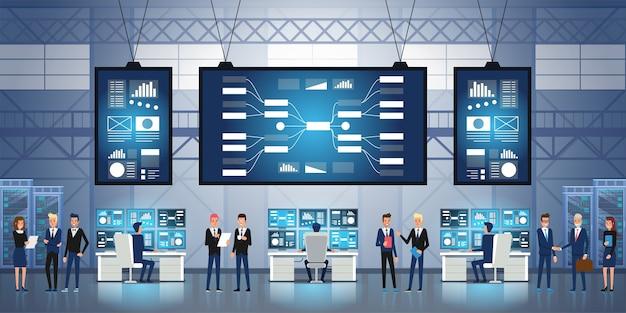 Personas que trabajan y gestionan el centro de control de tecnologías de la información. centro de control del sistema lleno de monitores y servidores.