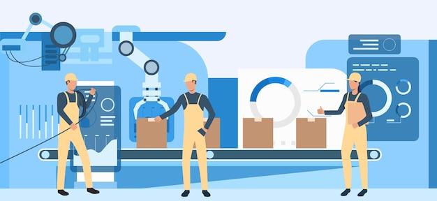 Personas que trabajan en la ilustración de la fábrica