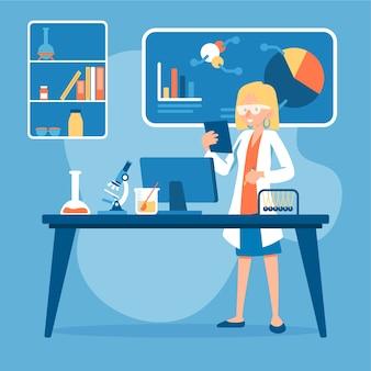 Personas que trabajan en una ilustración de laboratorio de ciencias