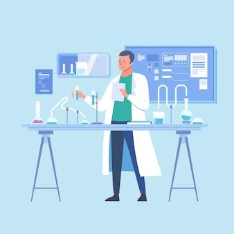 Personas que trabajan en la ilustración de laboratorio