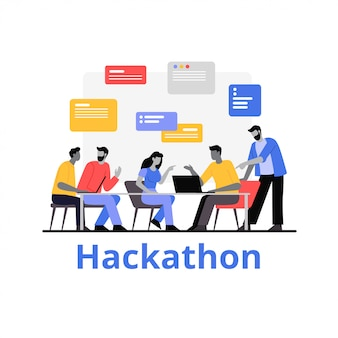 Las personas que trabajan juntas hackathon ilustración plana. los programadores trabajan con datos
