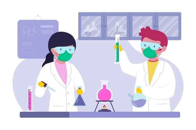 Personas que trabajan juntas en el laboratorio.