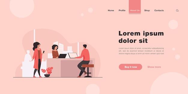 Personas que trabajan juntas en el proyecto. cooperación, página de inicio de ideas en estilo plano.